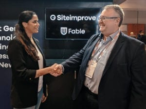 Alwar Pillai of Fable and Peter Bovin of Siteimprove shake hands