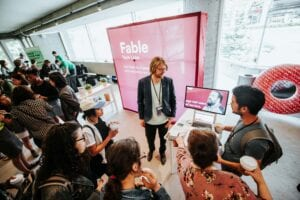 Graham demos Fable at UXRTO's event in Toronto