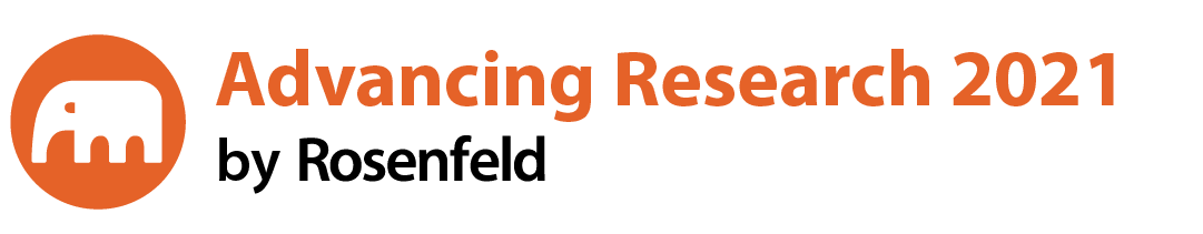 White elephant in an orange circle. Advancing Research 2021 by Rosenfeld