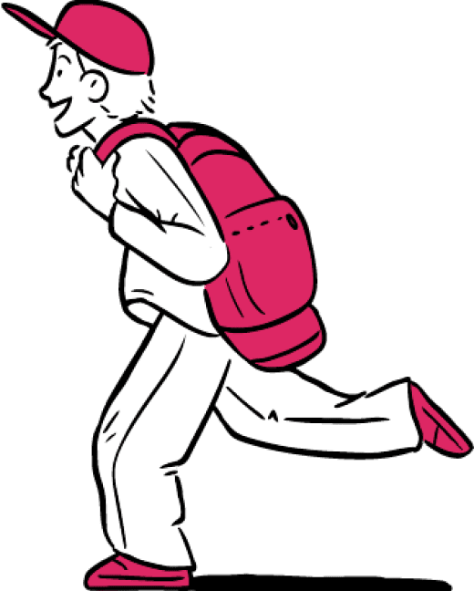 Illustration: a boy running with a pink baseball cap, pink backpack, and pink shoes.