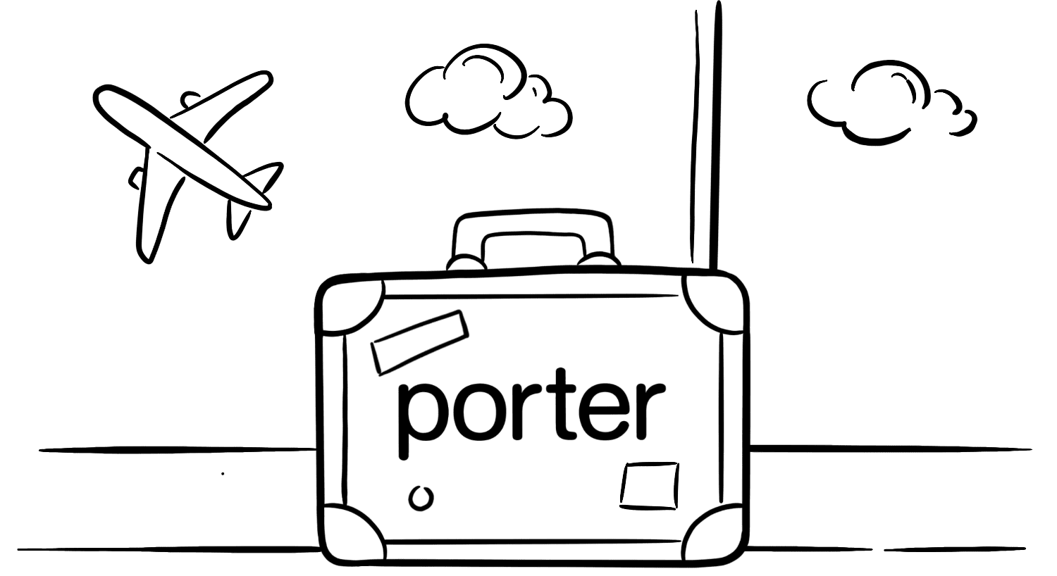 Illustration: A travel briefcase with the Porter logo. Airplane in the background and clouds.