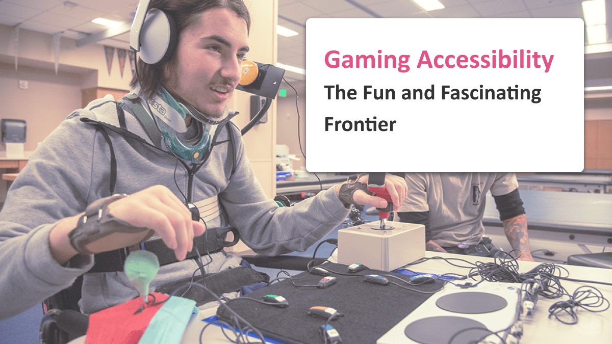Gaming accessibility coverage image, man using adaptive controller